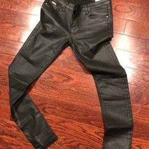 Black leather look Zara pants